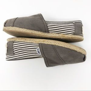 Toms Striped Espadrille Flats Cocoa Brown Sz W6
